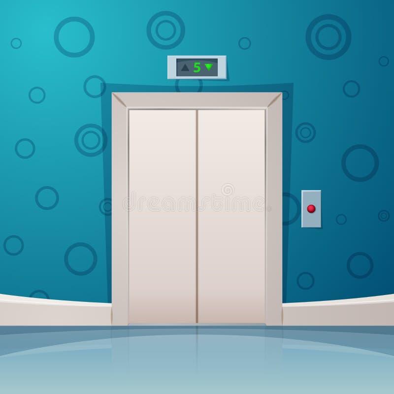 有红色按钮的动画片电梯 皇族释放例证