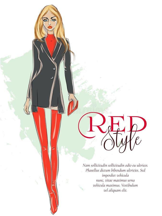 有红色样式商标的美丽的时尚女孩和广告发短信给模板,跑道展示,穿黑森州的起动, sa的性感的白肤金发的妇女 皇族释放例证