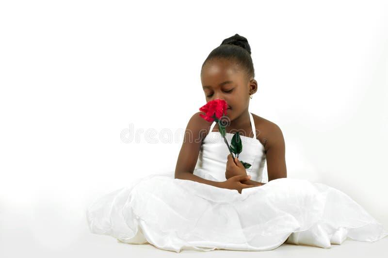 有红色玫瑰的美丽的小女孩 免版税图库摄影