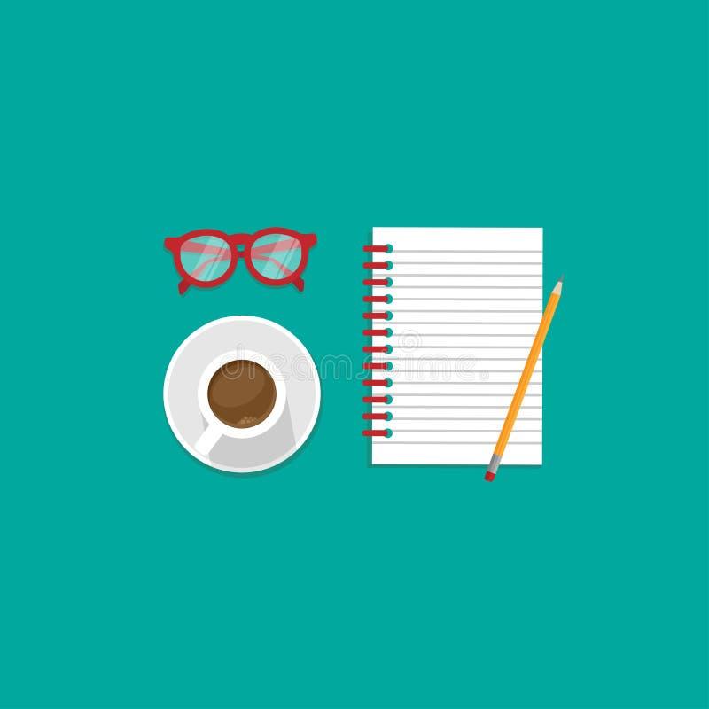 有红色玻璃、咖啡和笔记本的创造性的自由职业者的工作场所 向量例证