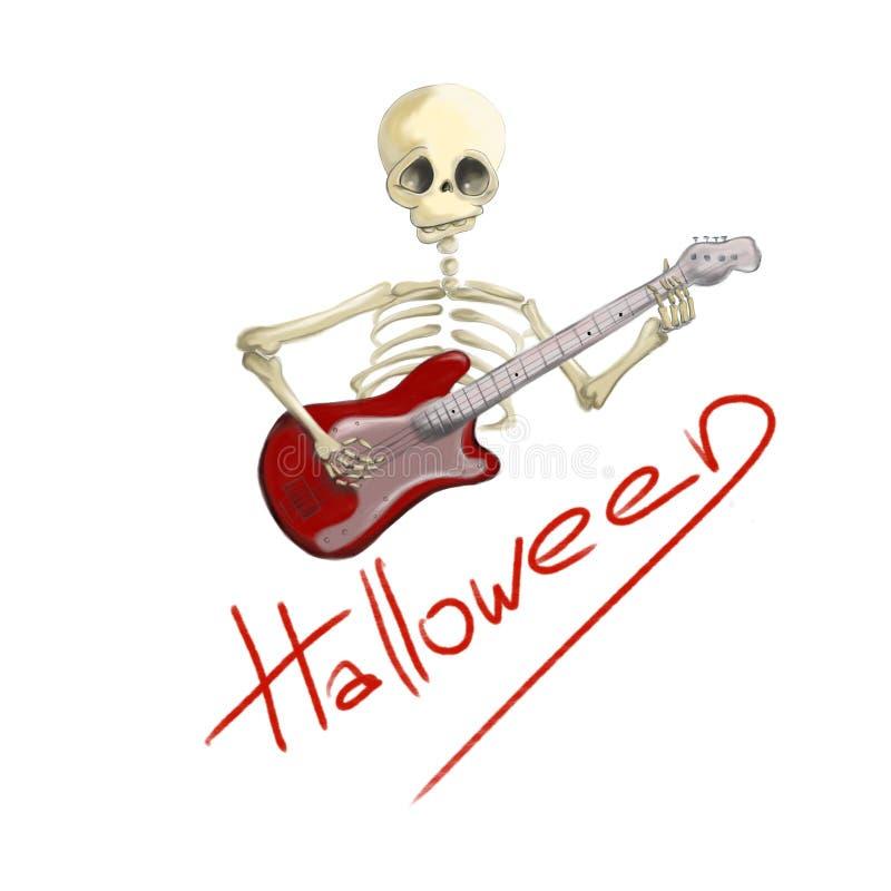 有红色电吉他的万圣夜被说明的骨骼 皇族释放例证