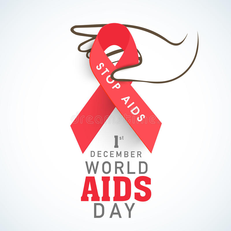 有红色的人的手援助世界援助天概念的丝带 库存例证