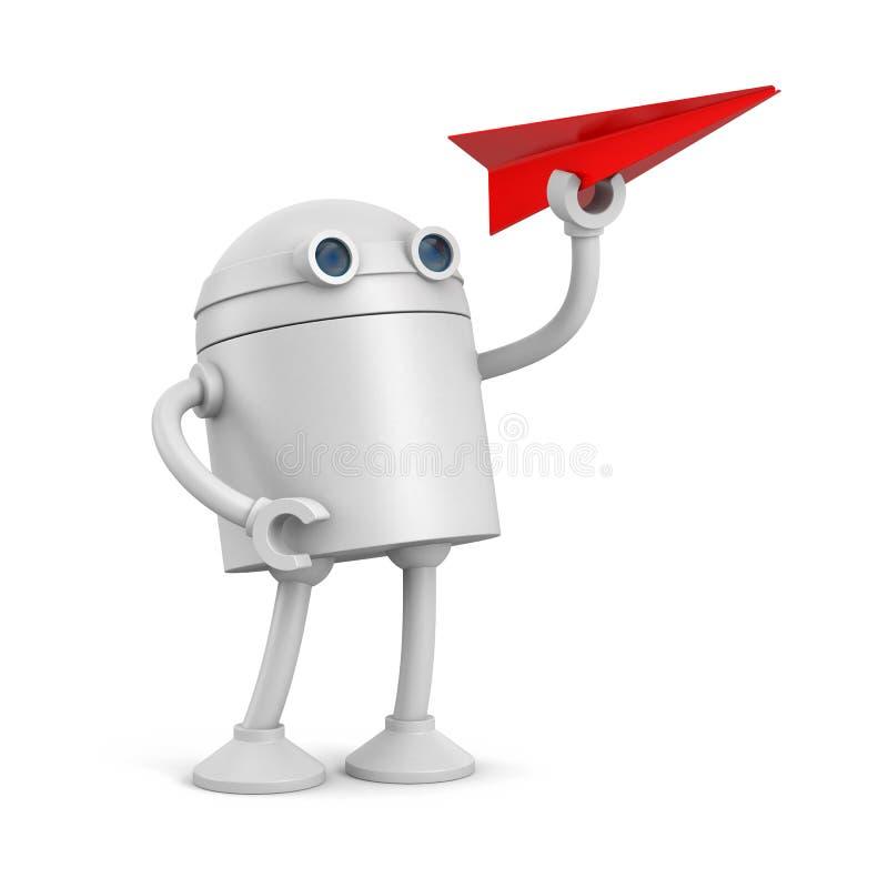 有红色纸飞机的机器人 库存例证