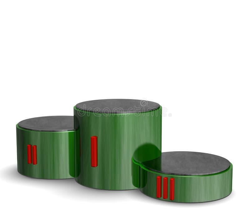 有红色罗马数字的绿色反射性圆柱形体育胜利指挥台 向量例证