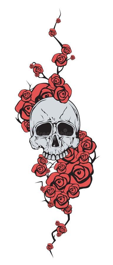 有红色花的头骨 皇族释放例证