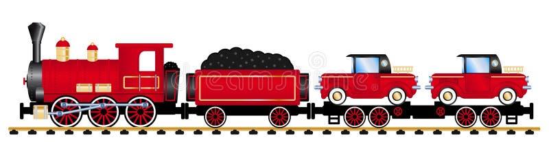 有红色蒸汽机车的货物火车 皇族释放例证