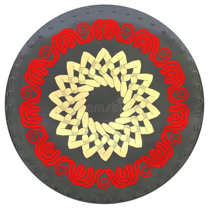 有红色蛇和被连结的手的盾 皇族释放例证