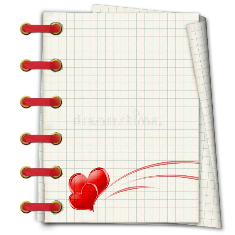 有红色重点的笔记本 向量例证