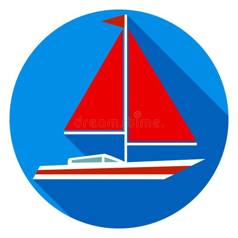 有红色风帆的游艇 向量例证