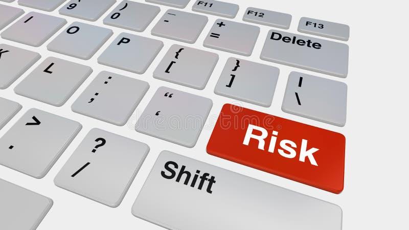 有红色风险按钮的键盘 皇族释放例证