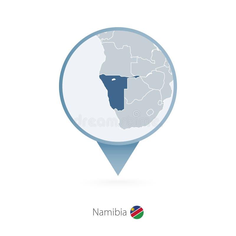 有纳米比亚和邻国详细的地图的地图别针  库存例证