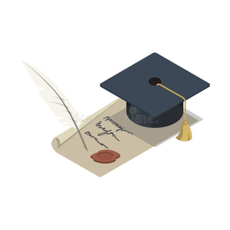 有纸卷等量3D元素的毕业盖帽 皇族释放例证