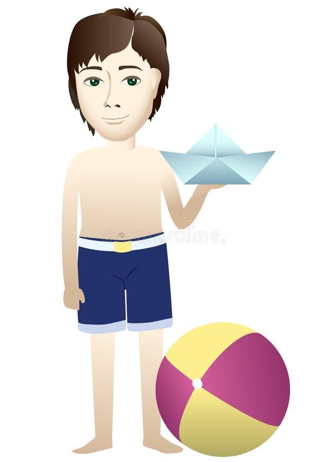 有纸小船和球的男孩 图库摄影