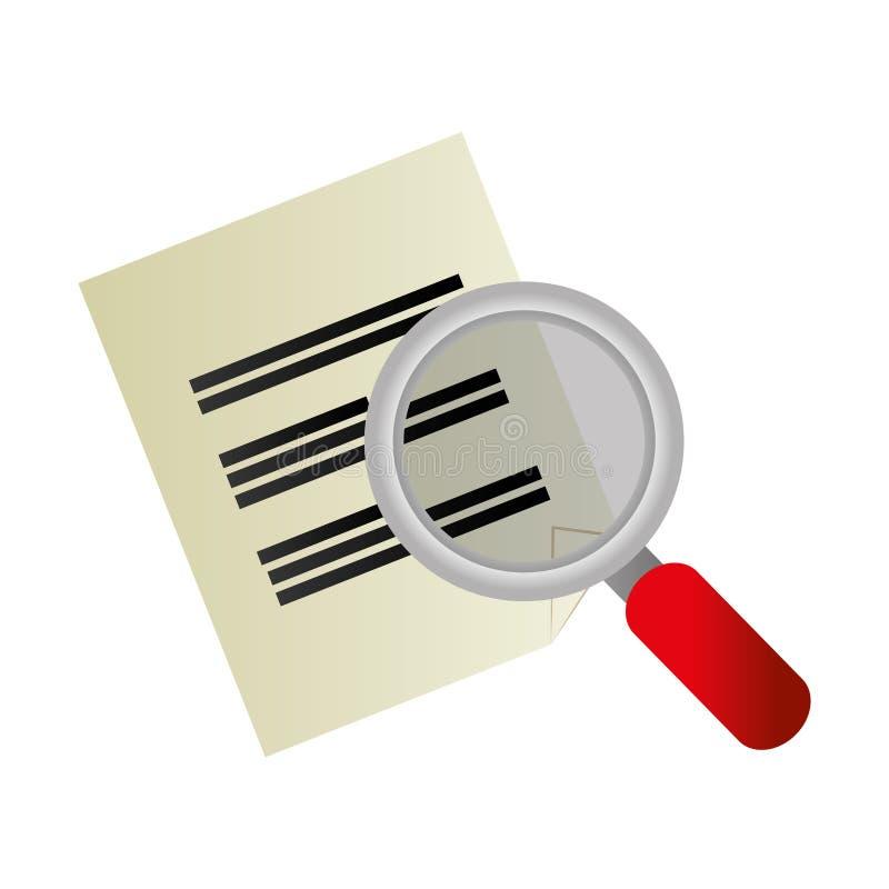 有纸张文件的放大镜归档象 皇族释放例证