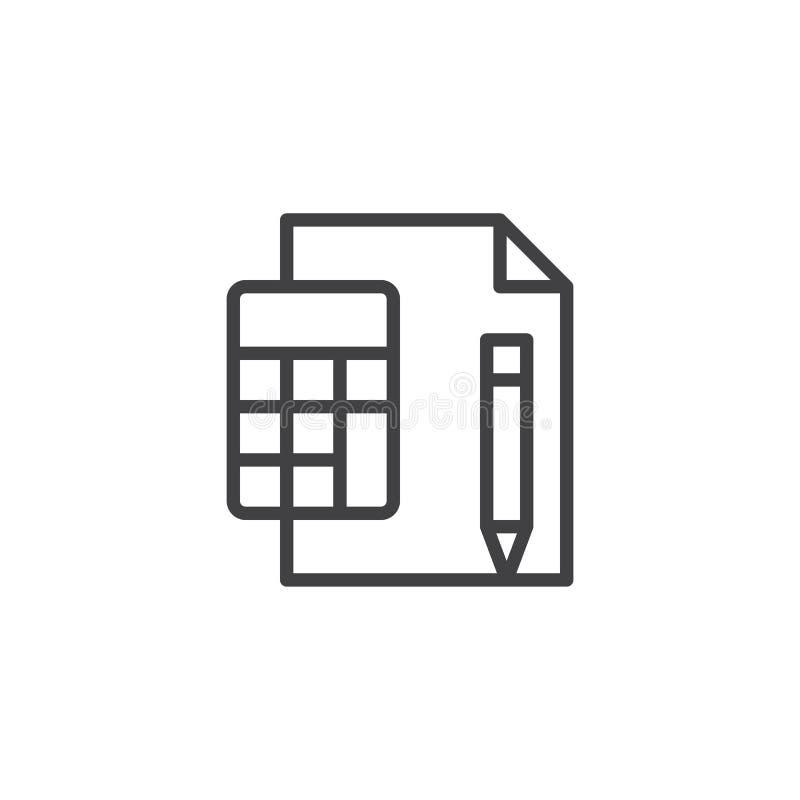有纸板料和笔概述象的计算器 向量例证