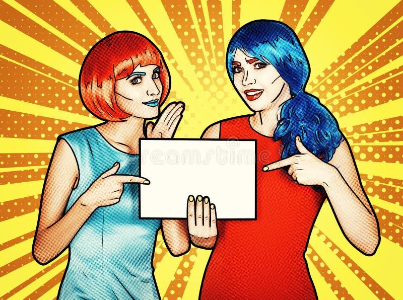 有纸的女性在手上 少妇画象可笑的流行艺术构成样式的 库存例证