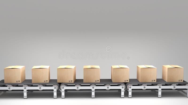 有纸盒的传送带 向量例证