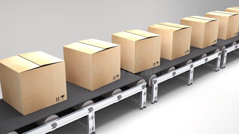 有纸盒的传送带 皇族释放例证