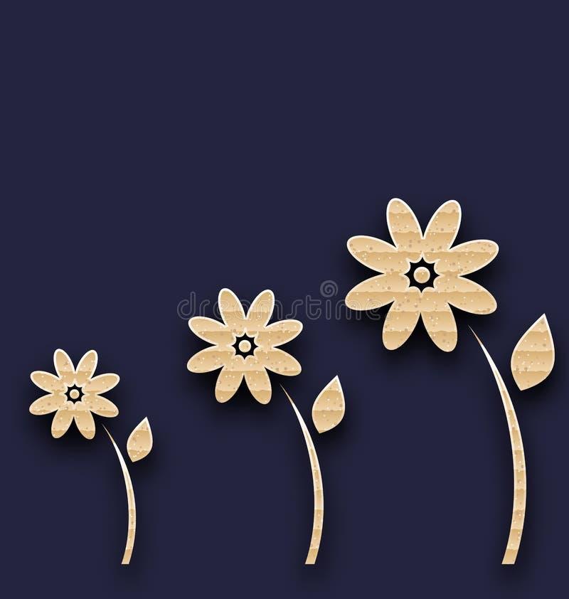 有纸花的抽象沼地,纸盒纹理 库存例证