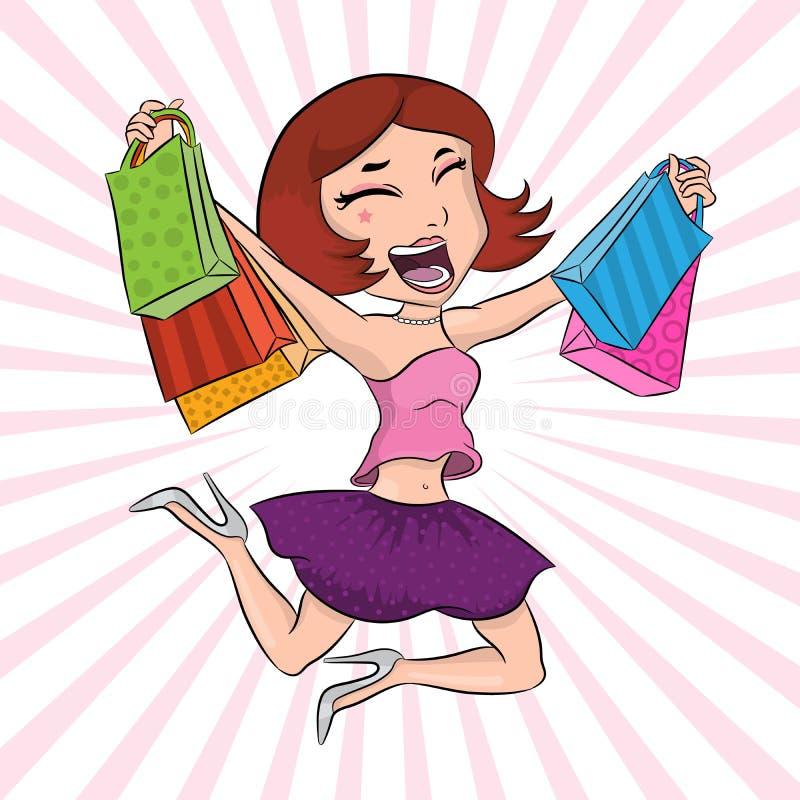 有纸袋的愉快的女孩在购物的跳跃和有以后乐趣、美女海报、时尚和样式横幅,俏丽的wom 皇族释放例证