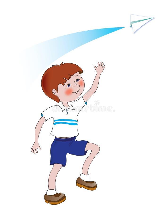 有纸飞机的男孩 向量例证