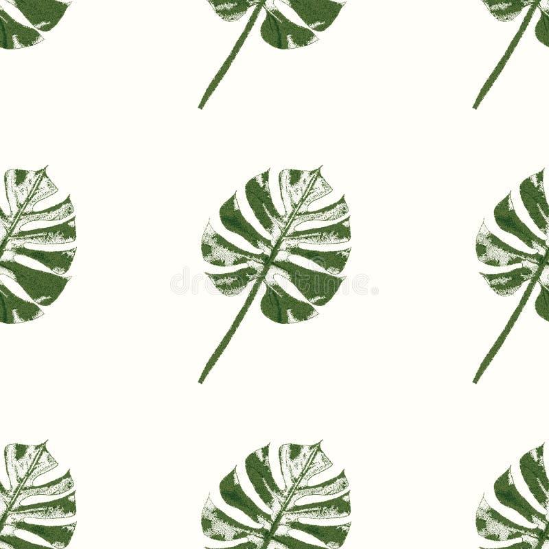 有纹理样式的绿色和深绿热带叶子 向量 向量例证