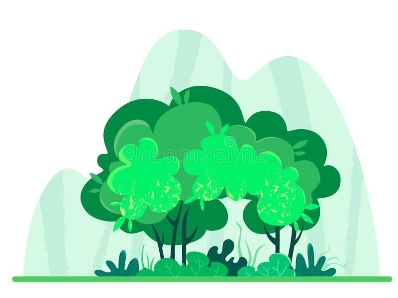 有纹理的意想不到和逗人喜爱的森林在山背景  自然的传染媒介例证在白色背景的 ?? 皇族释放例证