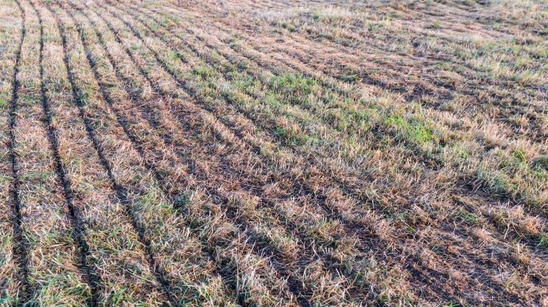 有线的干燥草原从机械肥料射入 库存图片