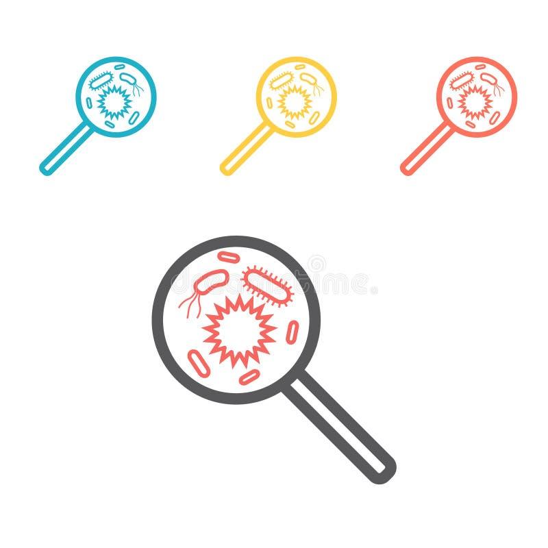 有细菌的放大镜排行象 网图表的传染媒介标志 皇族释放例证