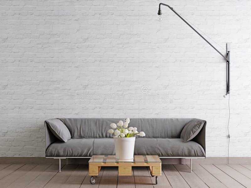 有织品沙发、灯和植物的斯堪的纳维亚样式客厅桶的白色空的墙壁背景的 库存例证