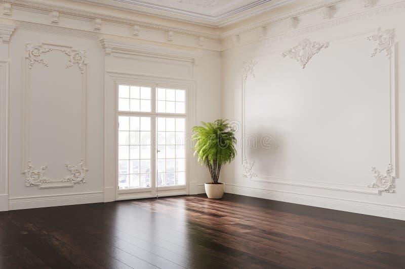 有经典室内设计的空的室 免版税库存图片