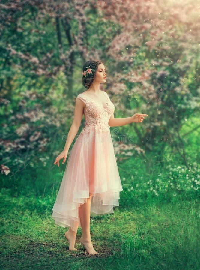 有结辨的黑发的俏丽的苗条女孩有在一件精美典雅的桃子礼服的发夹的,a的一位童话公主 免版税库存照片