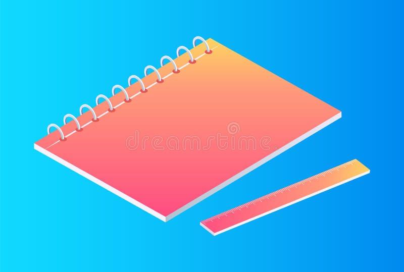 有统治者被隔绝的动画片横幅的霓虹笔记本 库存例证