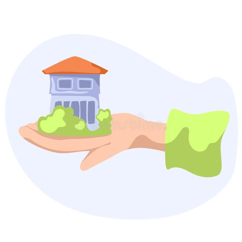 有绿叶的议院在手中 在白色背景的乡间别墅平的传染媒介例证 向量例证