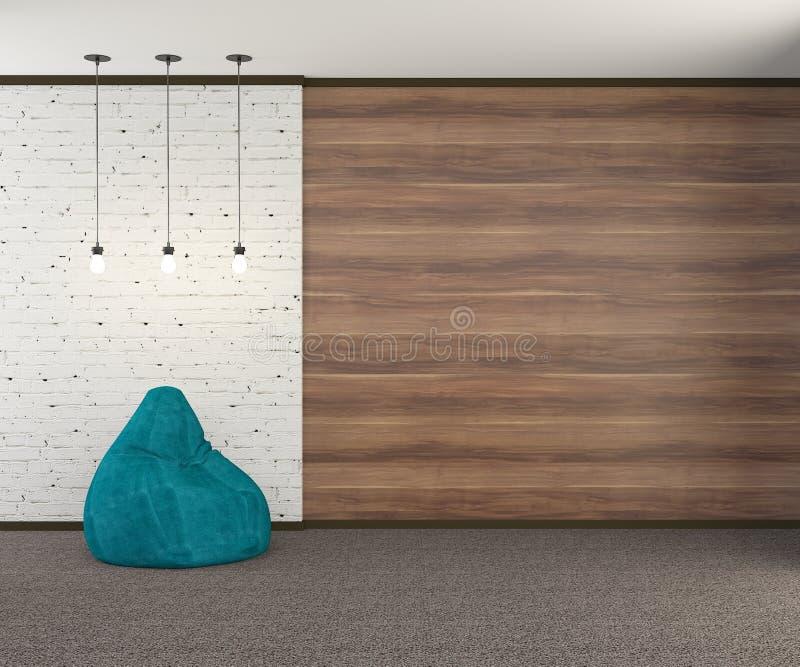有绿松石扶手椅子和三个电灯泡的顶楼式墙壁 3d?? 向量例证