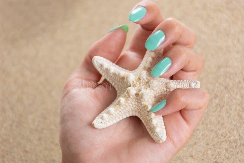有绿松石颜色的年轻美女手指甲油拿着海星和海沙在背景中 免版税库存照片