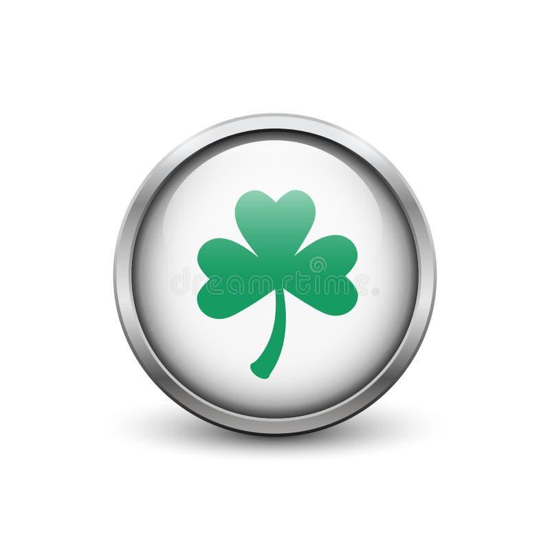 有绿色三片叶子三叶草的白色按钮 免版税库存照片