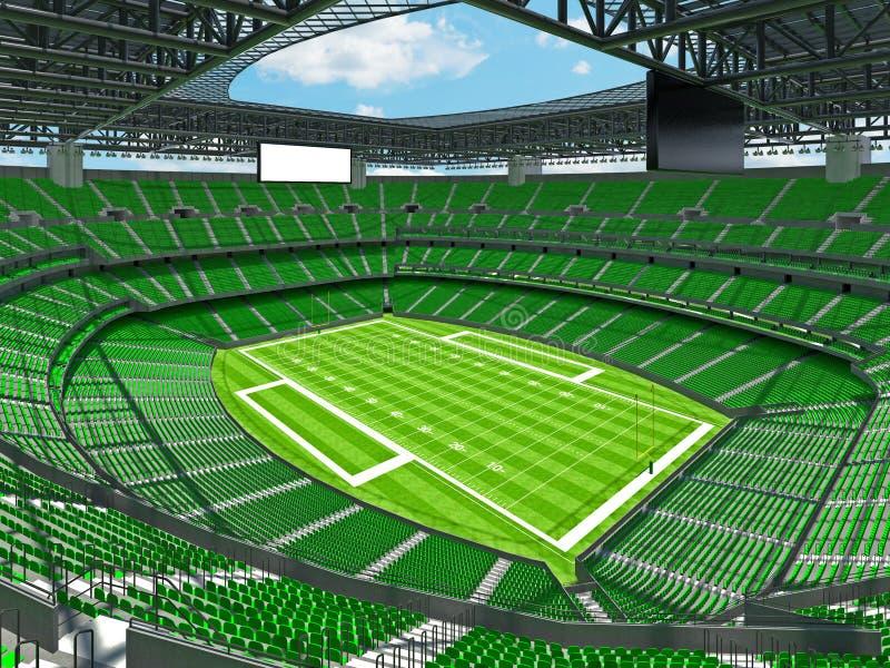 有绿色位子的现代橄榄球体育场 库存例证