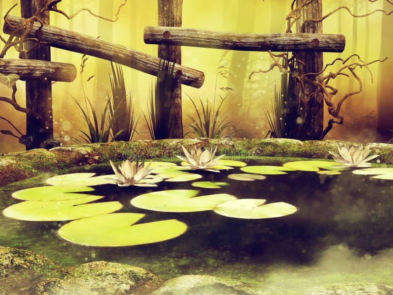 有绿色叶子和花的池塘 皇族释放例证