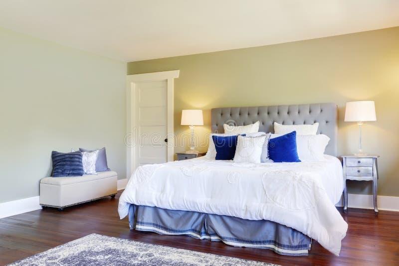 有绿色墙壁的豪华主卧室 免版税库存照片
