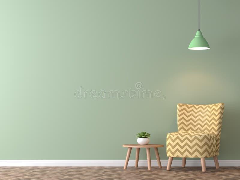 有绿色墙壁3d翻译的现代葡萄酒客厅 皇族释放例证