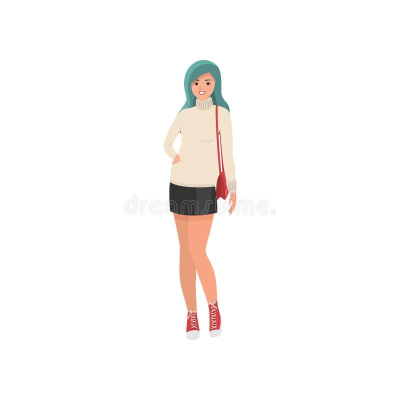 有绿色头发和短裙的逗人喜爱的微笑的少女 皇族释放例证