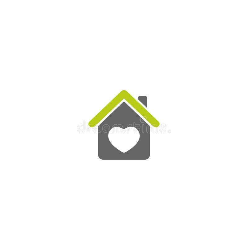 有绿色屋顶和心脏的平的灰色家 房子的简单的剪影有绿色屋顶和烟囱的 向量例证