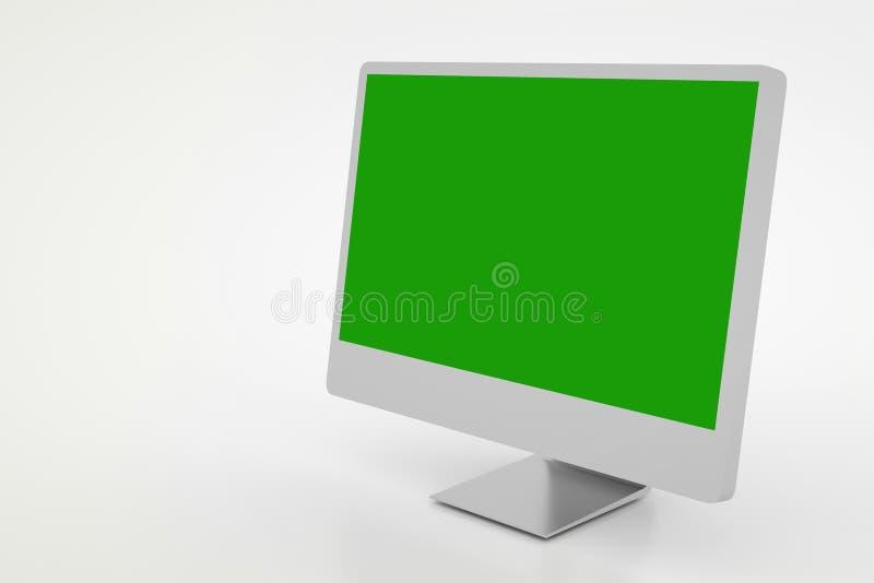 有绿色屏幕的现代计算机,隔绝在白色 3d?? 向量例证