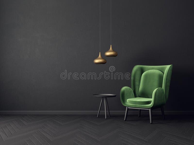 有绿色扶手椅子和黑墙壁的现代客厅 斯堪的纳维亚室内设计家具 向量例证