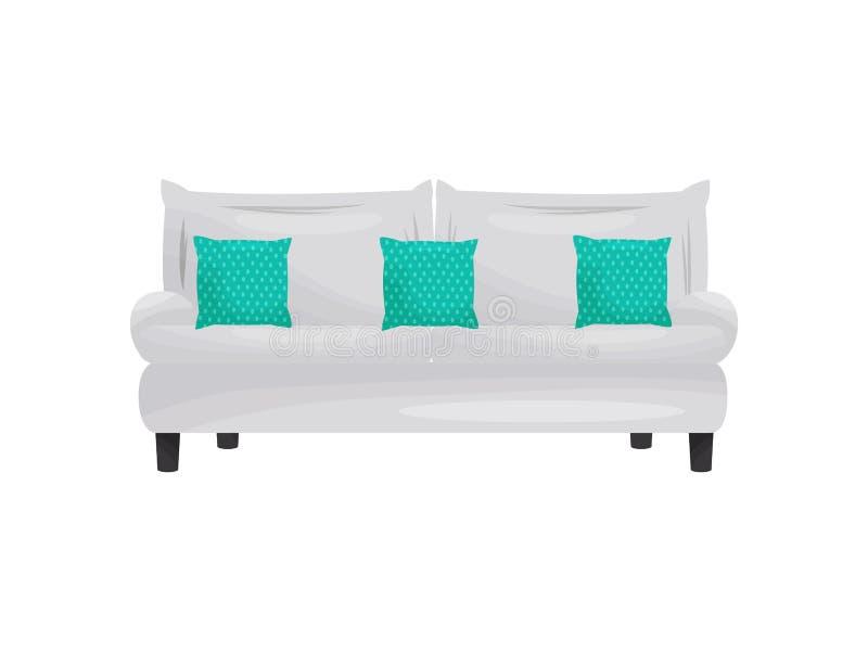 有绿色枕头的沙发在白色背景 向量例证
