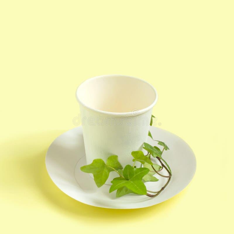 有绿色植物分支的环境友好的一次性纸碗筷 免版税库存图片