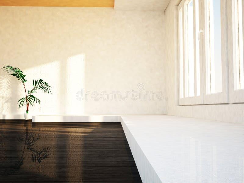有绿色植物的空的室在地板上,3d 免版税库存图片