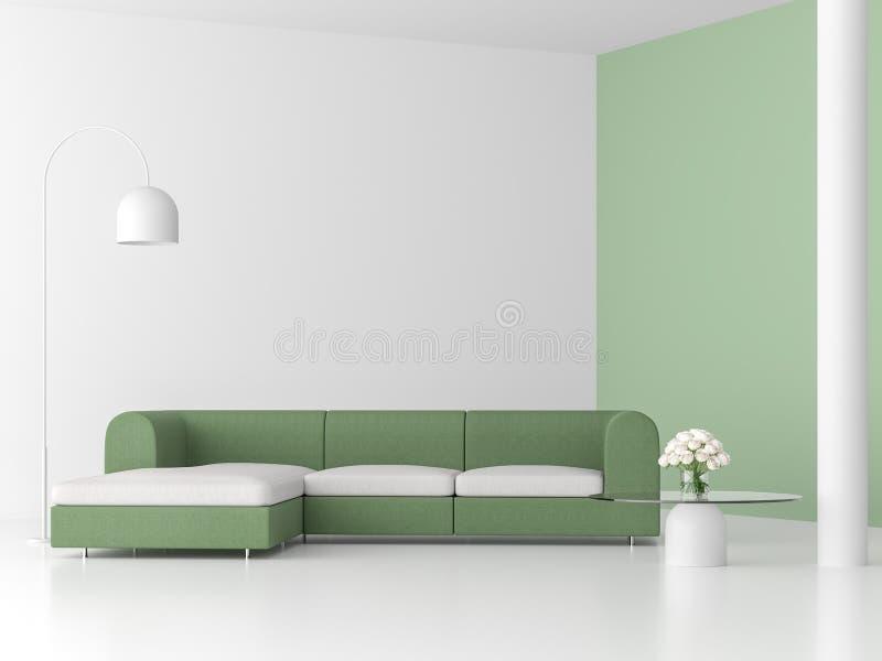有绿色沙发的3d最小的样式客厅回报 皇族释放例证
