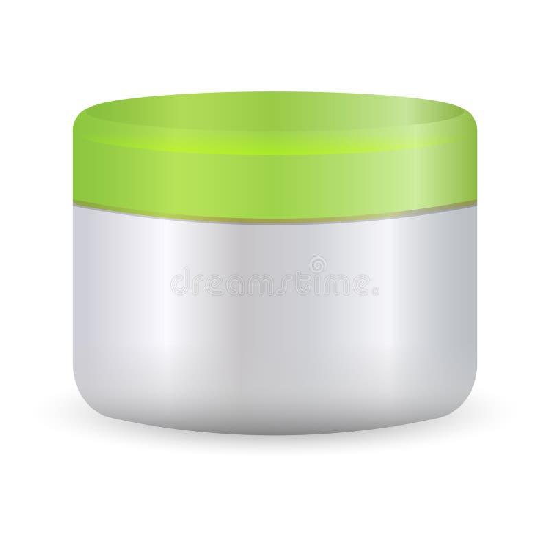 有绿色盒盖的圆的白色塑料瓶子 Ð ¡ osmetics 库存例证